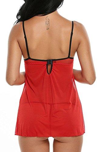 Avidlove Damen Dessous Set Negligee Reizwäsche negligee Spitze lingerie mit G-String A-Rot