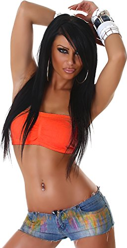 Jela London Damen Top Shirt Bandeau Tube-Top Schlauchtop Bustier Dessous Push-Up GoGo Uni 32,34,36,38 Neon Orange -