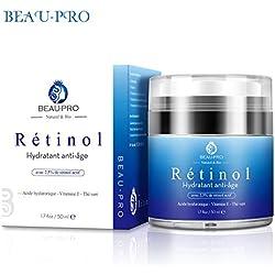 Beau-pro Hydratant pour le visage, Rétinol, acide hyaluronique, Hydrate et blanchit la peau, Réduit les rides et retarde le vieillissement, Raffermissant, Nourrissante, Réparant et Éclaircissant.