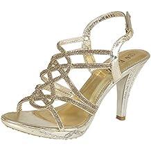 Para mujer PROM PARTY NOCHE sandalias mujer zapatos de boda Diamante Tacón Alto tamaño