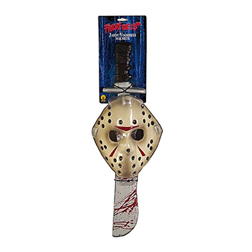 Jason Voorhees Maske und Machete Lizenzware Freitag der 13. Kostüm Zubehör Halloween Accessoire (Der 13 Freitag Jason Halloween Machete)
