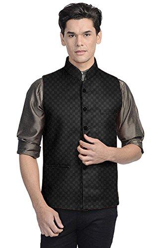 Vastraa Fusion Men's Chequered Blended Festive Black Nehru Jacket / Waistcoat -...