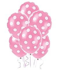 Idea Regalo - Shatchi, 6 palloncini rosa chiaro a pois, decorazioni per compleanno, festa della mamma, battesimo, anniversario, celebrazioni, baloon, 30,5 cm