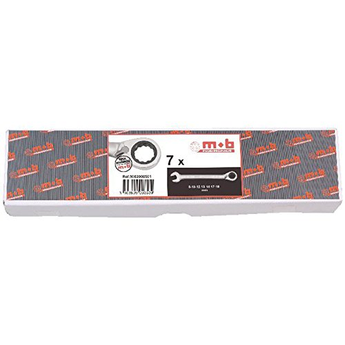 MOB Outillage 9002000501 Jeu de 7 cles mixtes a cliquet en boite, Argent, 8-19 mm