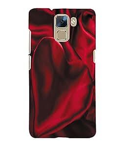 Fuson 3D Printed Satin Red Designer Back Case Cover for Huawei Honor 7 - D1052