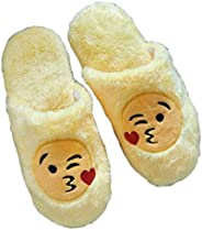 Soft Cotton Indoor Floor Expression Slippers Cute Emoji House Shoes Soft Bottom Winter Warm Slippers Slipper F