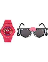 Fantasy World Red Watch And Black Sunglass Combo For Boys And Girls - B077TMGCX9