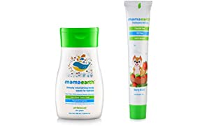 Mamaearth Deeply Nourishing Body Wash, 100g with Berry Blast Kids Toothpaste, 50g