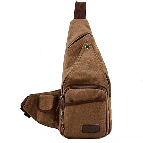 Yeah67886Multifunktions Schule Sport auf Reisen Radfahren Triangle Messenger Bags-Coffee