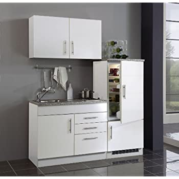 Held möbel 972 6513 single küche 160 mit 2 er e mulde und kühlschrank mit gefrierfach weiß