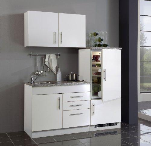 Held Möbel 972.6513 Single-Küche 160 mit 2-er E-Mulde und Kühlschrank mit Gefrierfach, weiß