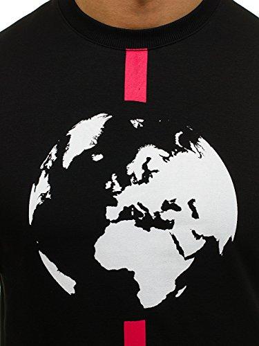 BOLF – Felpa - Senza cappuccio – Con Girocollo – Di cotone – Con polsini - Con stampa – Con motivo – Da uomo 1A1 Nero