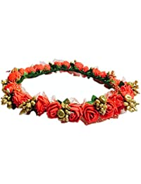 Loops n knots ® Preety Red & Gold Princess Collection Floral Tiara/Crown For Girls & Women (Hair Accessory)