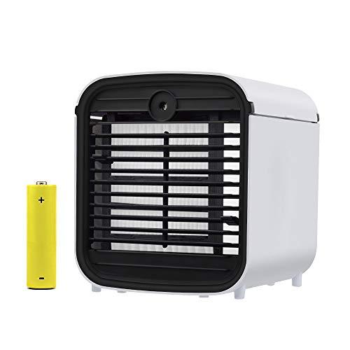 Mobile Klimageräte, 4 in 1 Air Cooler Mini Luftkühler, Luftbefeuchter & Luftreiniger Ventilator mit Batterie und 7 Farben LED-Licht für Office Home Outdoor Reisen (Reise-luftbefeuchter)