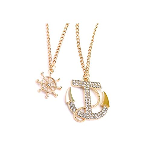 Bobury Women Cross Anchor Pendant Necklace Beads Double Chain Sweater Chain Necklace