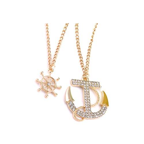 LUFA Femmes Croix Ancre Pendentif Collier Perles Double Chaîne Chandail Chaîne Collier