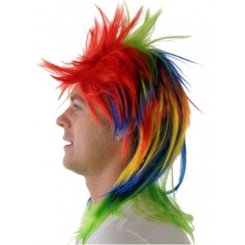 Hair Wig Punk Rainbow/Tinsel (Black-emo-perücke Erwachsene Für)