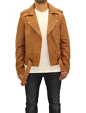 Para hombre de cuero real de la moto equipada Brando manga larga chaqueta