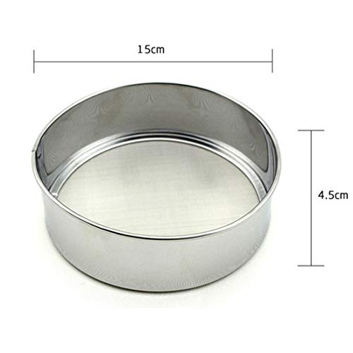 Sifter - Advanced Pure Stainless Steel Flour Sieve Colander Powdered Sugar Filter Mesh Sifting Strainer Cake - Flour Fondant Cake Strainer Sift Cake Pot Flour Scoop Stainless Strainer Powde -