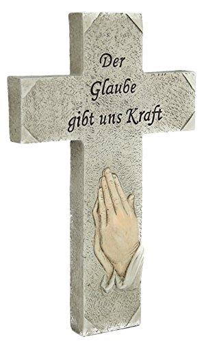 Grab Deko Grabdekoration Gedenken Kreuz Hand - Der Glaube gibt uns Kraft - 17 x 9,2 x 2,4 cm Grabdeko Spruch