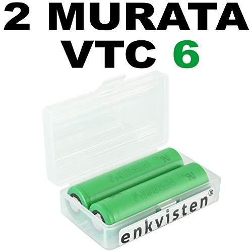 enkviSten 2er Pack MURATA VTC6 Sony Konion Akku Batterien Li-Ion / 3,7V - in Premium Akku Boxen für Akkus 2 X Akku-pack