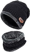 ZZLAY Sciarpa spessa del cappello del beanie di inverno dei capretti Sciarpa calda del cranio di neve calda slouchy di neve