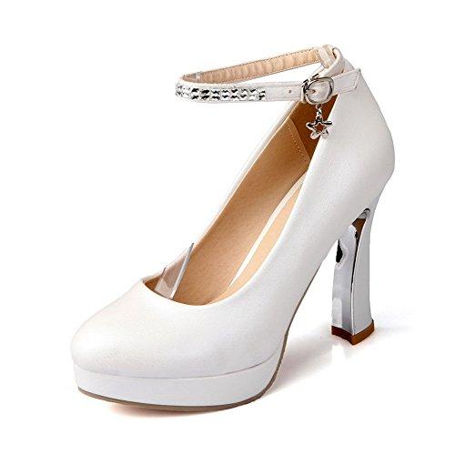 AgooLar Femme Pu Cuir à Talon Haut Couleur Unie Rond Boucle Chaussures Légeres Blanc