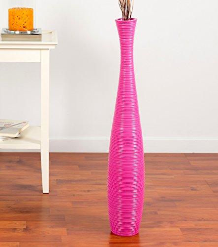 Leewadee Große Bodenvase für Dekozweige hohe Standvase Design Holzvase 75 cm, Mangoholz, pink