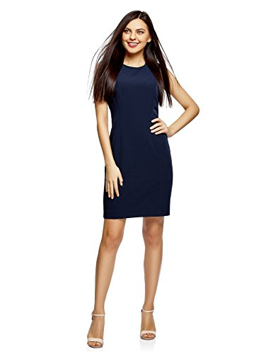 oodji Collection Damen Ärmelloses Kleid Basic, Blau, DE 36 / EU 38 / S (Kleid Ärmelloses Blaues)