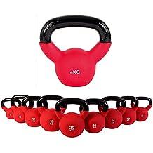 Kettlebell hierro fundido con revestimiento de neopreno 4 kg, 6 kg, 8 kg, 10 kg, 12 kg, 14 kg, 16 kg, 18 kg, 20 kg - Ideal para la práctica del entrenamiento funcional y del potenciamiento muscular tanto en tu propia casa como en el gimnasio - Pesas rusas (4 kg)