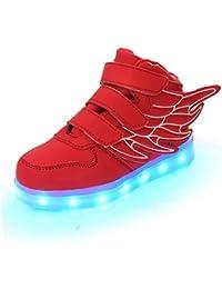 Aidonger Unisexe Enfant Baskets Lumineuses Chaussures de Sport Clignotantes avec 7 Couleurs LED Colorés USB rechargeable Style d'ailes d'ange pour Fille Garçon