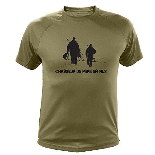 AtooDog Tee Shirt Chasse, Chasseur de Père en Fils, Idée Cadeau Fête des Pères (XL, Vert)