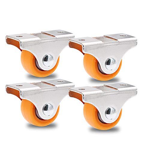 1 Zoll / 25 mm möbelrollen klein, Schubladenregal Gleitrollen, Gummi-Silent Casters/Bockrollen, Blau/Orange/Braun, 4 Packs