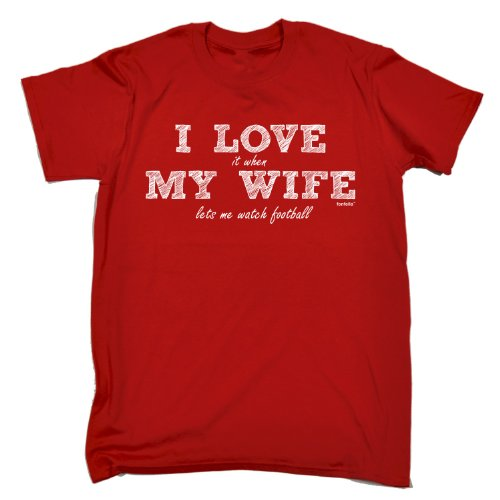 123t Men's - I LOVE IT WHEN MY WIFE LETS ME WATCH FOOTBALL - Loose Fit T-shirt (Distressed Style Print)