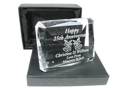 25th Wedding Anniversary Gift, Engraved 25th Wedding Anniversary Crystal Keepsake,