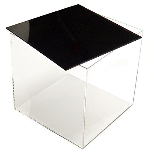 HOKU Holzhäuser Kunststofftechnik  Acrylwürfel mit Deckel/Boden in schwarz Grösse : 20cm x 20cm x 20cm Box, Acryl/Plexiglas, 5 transparente Seiten, klar (Acryl-box)