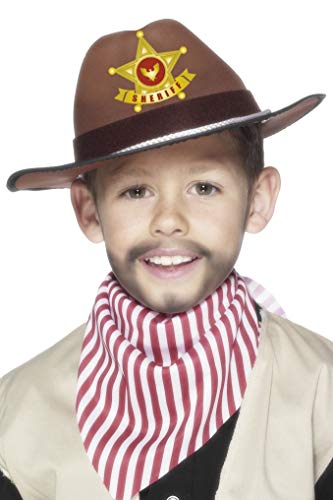 Smiffys Kinder Jungen Cowboy Hut Mit Sheriff Button, One Size, Braun, ()