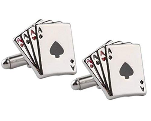 Toruiwa 2X Gemelos Camisa de Moda Ace Poker Gemelos Traje Gemelos Accesorios de la Camisa Nudo Botón de la Manga del puño para Hombres de Negocios Regalo de la joyería de la Boda (Plata) 1.8 * 1.7 cm