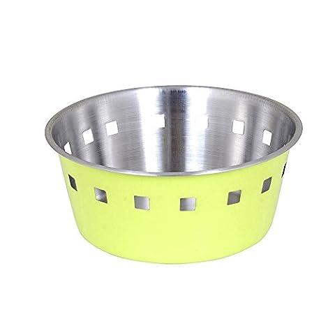 Kosma Edelstahl Brotkorb | Fruit Bowl - (Matt Finish innen mit einer Brilliant Lime Green Farbe Äußere Seite) - 18cm