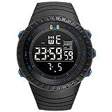 Relojes para Hombre Mire el Reloj Digital de los Hombres Alarma Banda de Resina Vida Impermeable Asistencia Escolar Viaje Diario Ligero Exterior IWGR (Color : 06 Negro-Gratis)