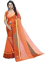 G Stuff Fashion Women Cotton Saree With Blouse Piece_1094_Orange_saree