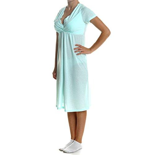 BEZLIT Damen Pyjama Schlafrock Nachthemd Schlafanzug 21386, Farbe:Grün;Größe:2XL (Capri-baumwoll-overalls)