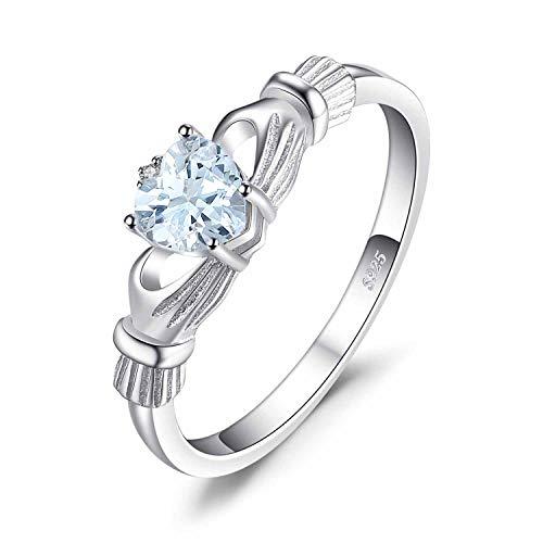 JewelryPalace Herz 0.5ct Irische keltische Claddagh Natürliche Aquamarin Geburtsstein Ringe Vertrauensring 925 Sterling Silber Gr??e 46 to 62