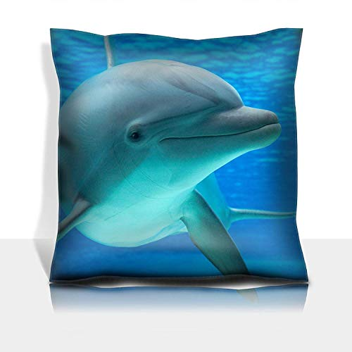 MSGDF Throw Pillowcase Cotton Satin Comfortable Decorative Soft Pillow Covers Protector Sofa 18x18 1 Pack Dolphin Photographed in an Aquarium from an Underwater Window