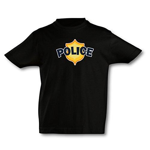 Cops Schwarzes T-shirt (plot4u Kinder T-Shirt Polizei Bedruckt Polizeizeichen Shirt Police Cop, Sol's Imperial Kid's Größe 104, Schwarz/Farbiger Aufdruck)