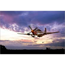 POSTERLOUNGE Cuadro sobre lienzo 120 x 80 cm: Mustang Scramble de airpowerart - cuadro terminado, cuadro sobre bastidor, lámina terminada sobre lienzo auténtico, impresión en lienzo
