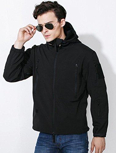 MatchLife Herren Kapuzen Jacken Langarm Camouflage Mantel SchwarzSchwarz