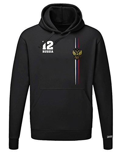 Jayess WM 2018 - Russia Digital - Russland - Herren Hoodie Kapuzenpullover in Schwarz...