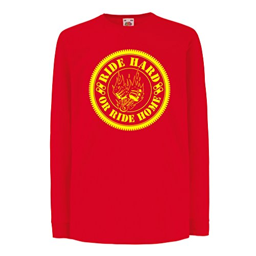 N4688D Kinder-T-Shirt mit langen Ärmeln Ride Hard! Biker clothing (5-6 years Rot Mehrfarben)