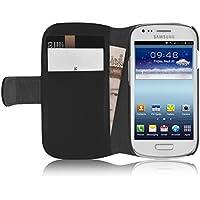 Galaxy S3 Mini Cover, Funda JAMMYLIZARD De Piel Tipo Cartera [ Regular Wallet ] Con Atril Leather Case, Negro